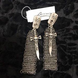Anthony Ferrara Metal Mesh Chain Skull Earrings
